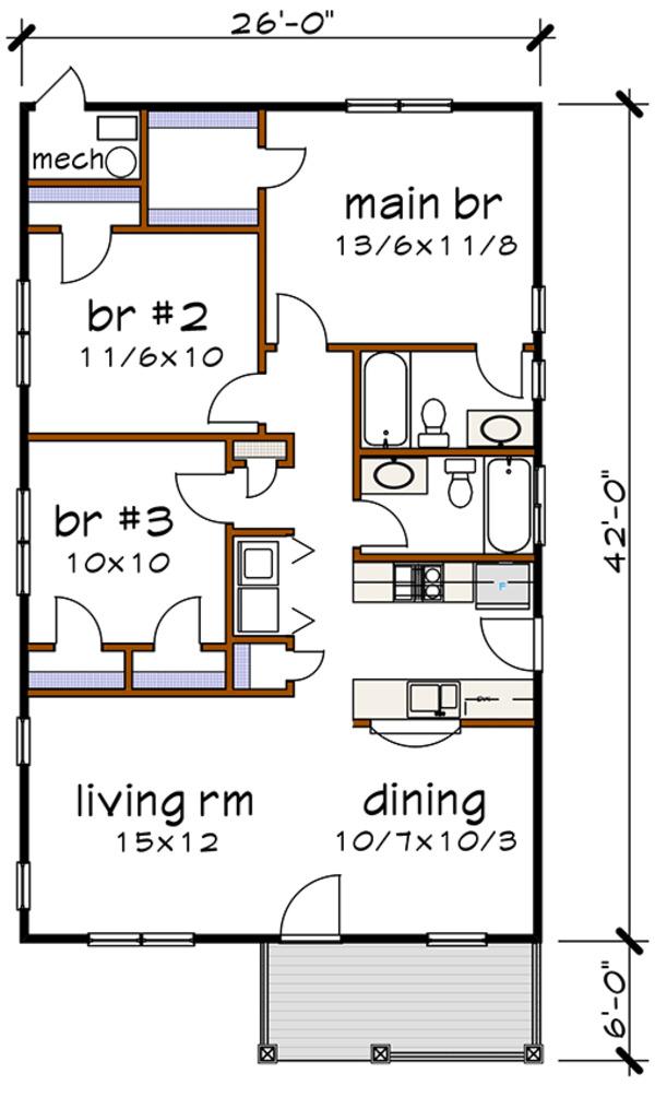 House Plan Design - Cottage Floor Plan - Main Floor Plan #79-115
