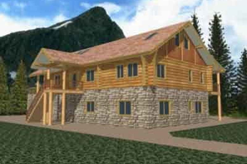 Log Exterior - Front Elevation Plan #117-115