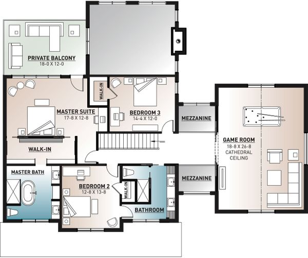 Farmhouse Floor Plan - Upper Floor Plan Plan #23-2688