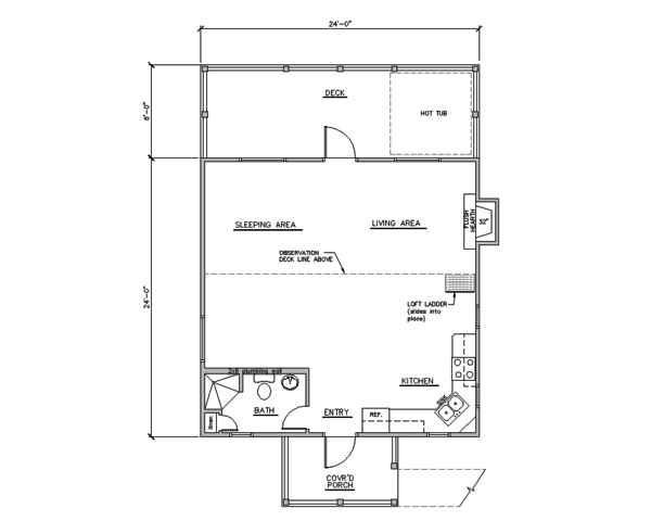 Cabin Floor Plan - Main Floor Plan Plan #123-115