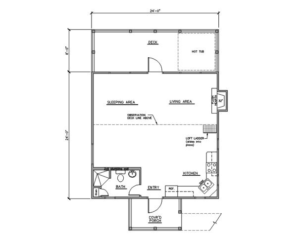 Home Plan Design - Cabin Floor Plan - Main Floor Plan #123-115