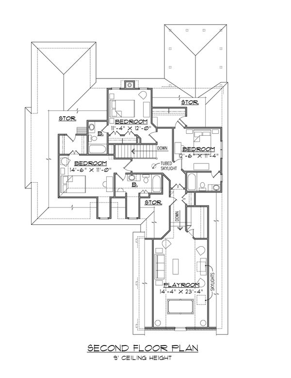 Traditional Floor Plan - Upper Floor Plan Plan #1054-40