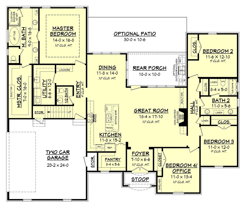 European Style House  Plan  4  Beds 2 5  Baths  2399 Sq Ft