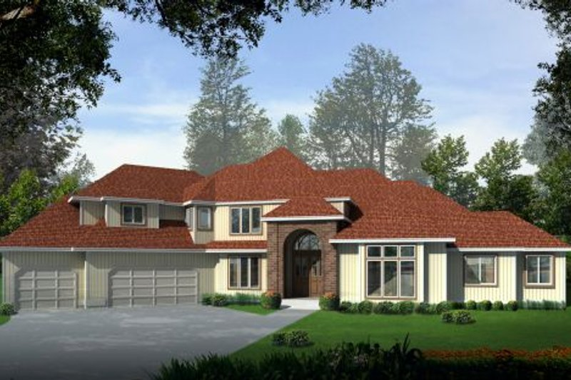 Traditional Style House Plan - 4 Beds 3.5 Baths 3982 Sq/Ft Plan #96-215 Exterior - Front Elevation