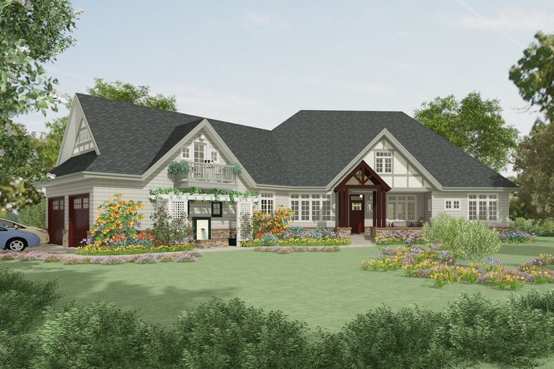 Craftsman Style House Plan - 4 Beds 5 Baths 4162 Sq/Ft Plan #917-41 Exterior - Front Elevation