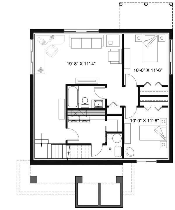 Modern Floor Plan - Lower Floor Plan Plan #23-2677