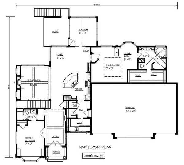 European Floor Plan - Main Floor Plan Plan #320-501