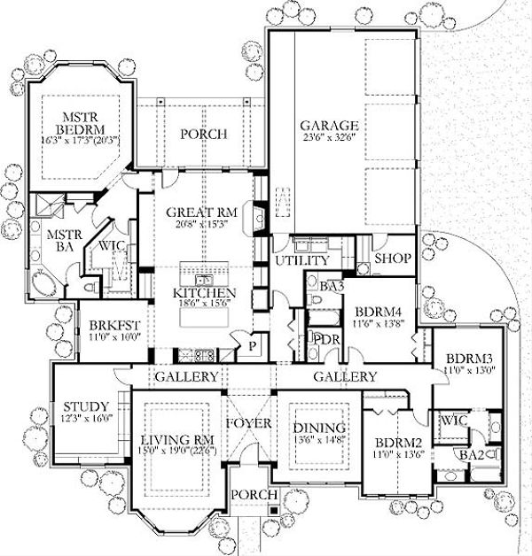 Traditional Floor Plan - Main Floor Plan Plan #80-195