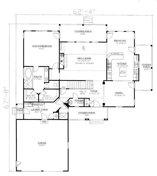 Craftsman Floor Plan - Main Floor Plan Plan #437-119