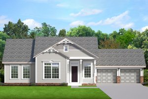 Ranch Exterior - Front Elevation Plan #1058-189