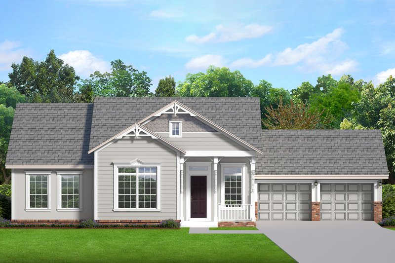 Ranch Style House Plan - 3 Beds 2 Baths 2200 Sq/Ft Plan #1058-189 Exterior - Front Elevation
