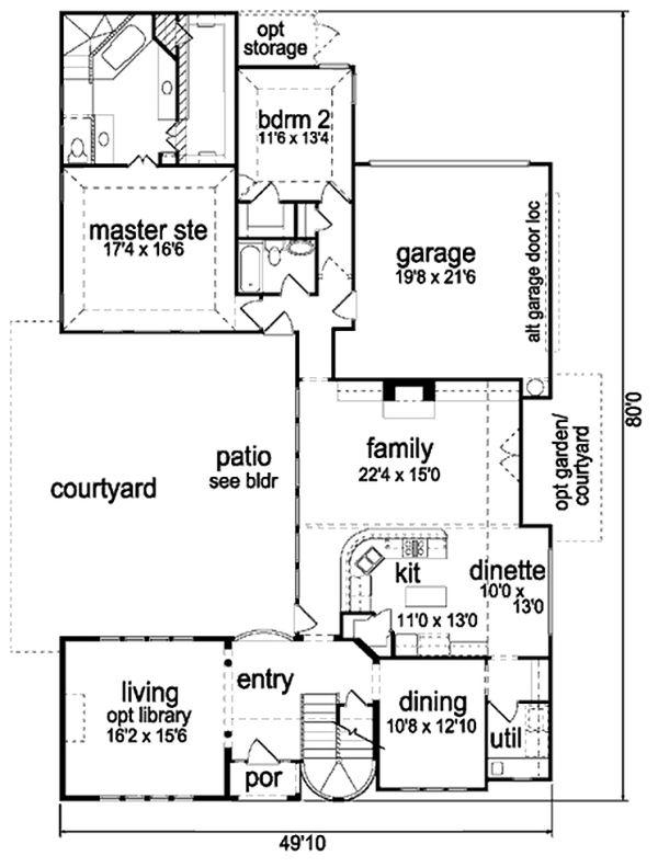 Mediterranean Floor Plan - Main Floor Plan Plan #84-396