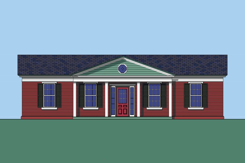 Colonial Style House Plan - 3 Beds 2 Baths 1442 Sq/Ft Plan #492-7 Exterior - Front Elevation