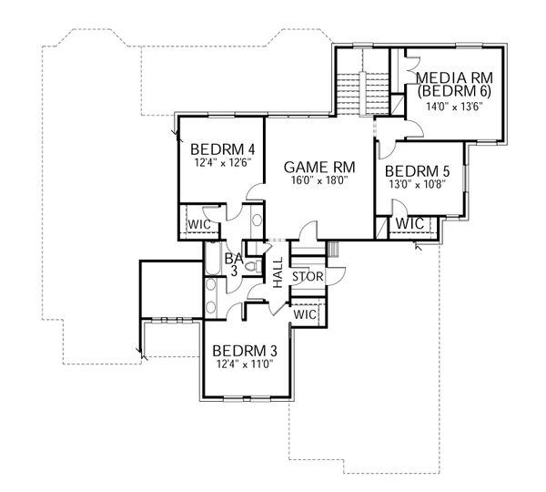 Dream House Plan - Traditional Floor Plan - Upper Floor Plan #80-210