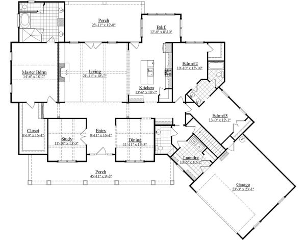 Farmhouse Floor Plan - Main Floor Plan Plan #1071-4