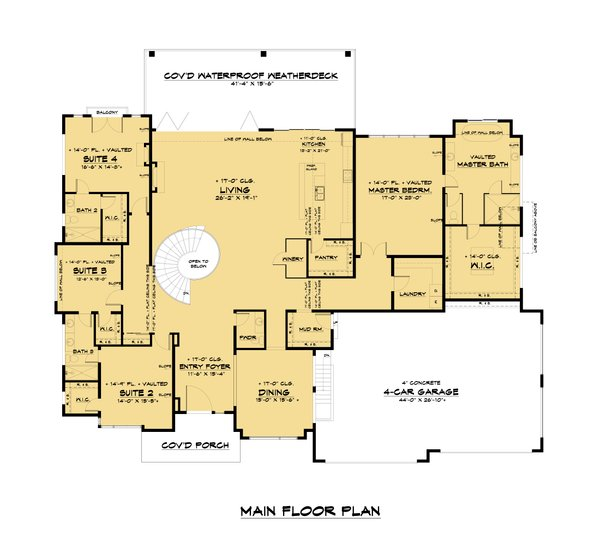Contemporary Floor Plan - Main Floor Plan #1066-112