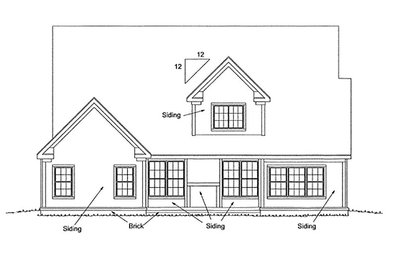 Traditional Exterior - Rear Elevation Plan #20-1356 - Houseplans.com