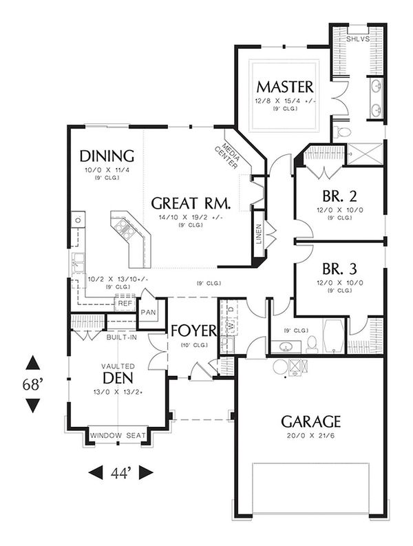 Craftsman Floor Plan - Main Floor Plan Plan #48-404
