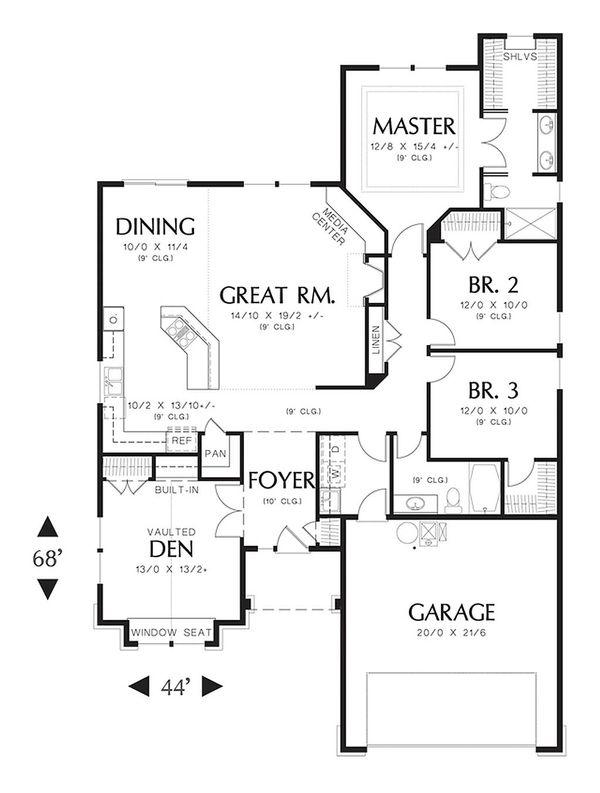 House Plan Design - Craftsman Floor Plan - Main Floor Plan #48-404