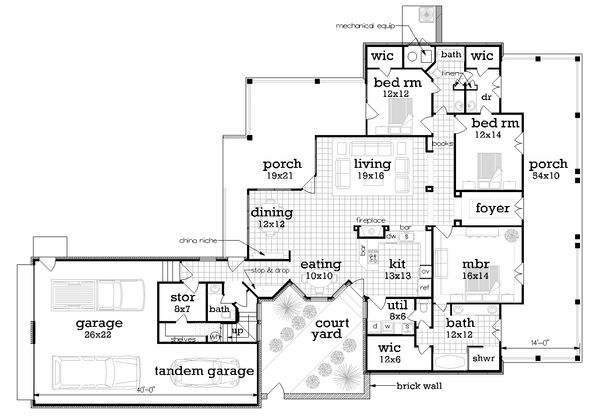 House Plan Design - Ranch Floor Plan - Main Floor Plan #45-574