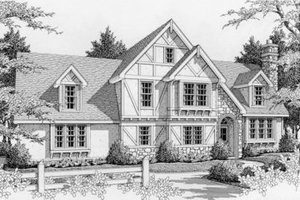 Tudor Exterior - Front Elevation Plan #112-124