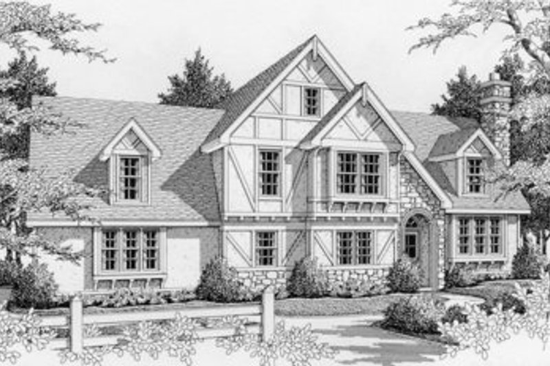Tudor Style House Plan - 3 Beds 3 Baths 1935 Sq/Ft Plan #112-124 Exterior - Front Elevation