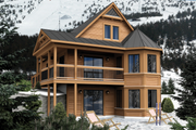 Cabin Style House Plan - 4 Beds 2 Baths 1960 Sq/Ft Plan #25-4413 Exterior - Front Elevation