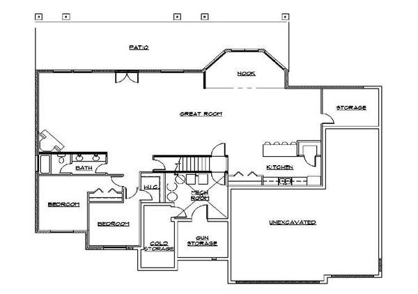 House Plan Design - European Floor Plan - Lower Floor Plan #5-361