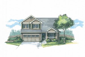 Architectural House Design - Craftsman Exterior - Front Elevation Plan #53-596