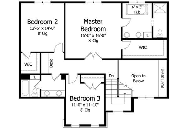 Traditional Floor Plan - Upper Floor Plan Plan #51-401
