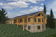 Log Style House Plan - 3 Beds 3 Baths 1785 Sq/Ft Plan #117-119 Exterior - Front Elevation