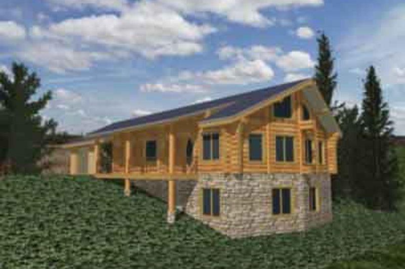 Log Exterior - Front Elevation Plan #117-119