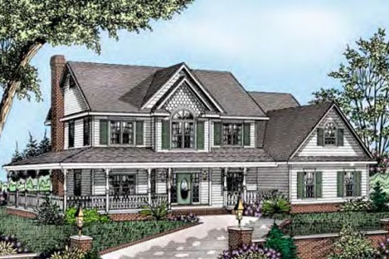 Architectural House Design - Country Exterior - Front Elevation Plan #11-221