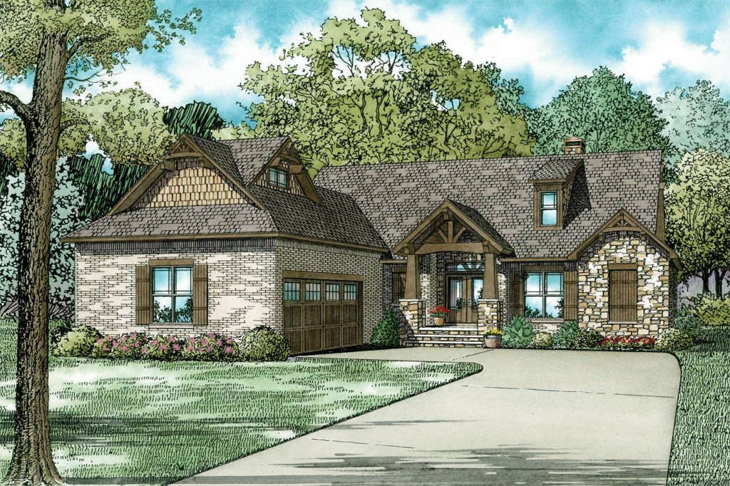European Style House Plan 3 Beds 2 5 Baths 2091 Sq Ft