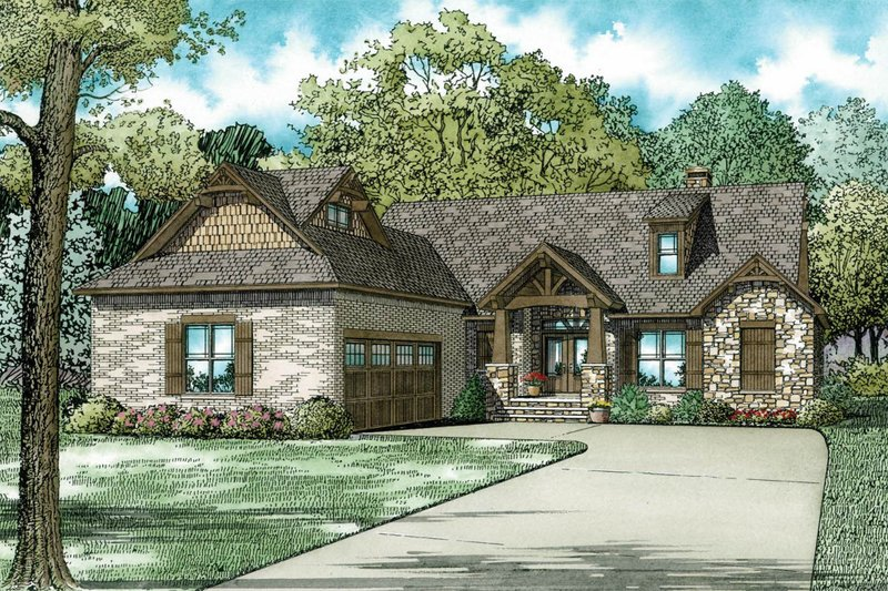 European Style House Plan - 3 Beds 2.5 Baths 2091 Sq/Ft Plan #17-2574 Exterior - Front Elevation