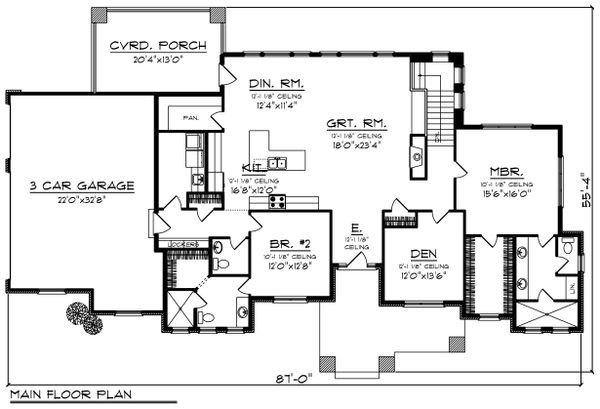Ranch Floor Plan - Main Floor Plan Plan #70-1422