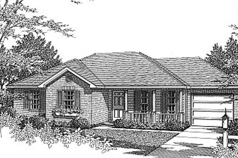 Traditional Style House Plan - 3 Beds 2 Baths 1070 Sq/Ft Plan #14-152