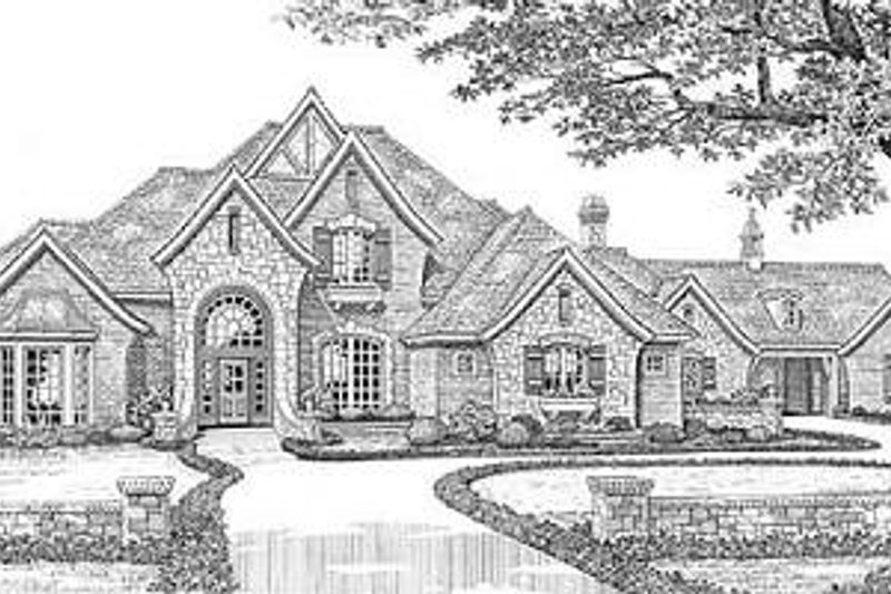 European Exterior - Front Elevation Plan #310-628 - Houseplans.com