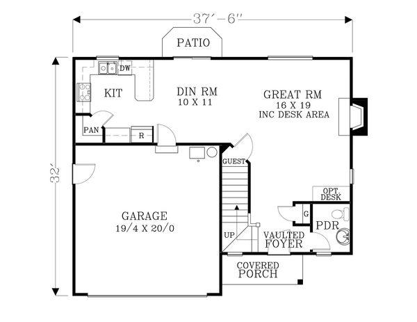 Craftsman Floor Plan - Main Floor Plan Plan #53-499
