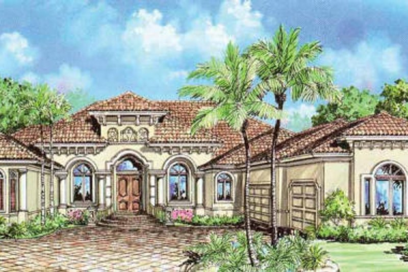 Mediterranean Style House Plan - 3 Beds 3.5 Baths 3508 Sq/Ft Plan #27-262 Exterior - Front Elevation