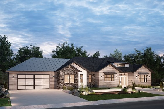 Ranch Exterior - Front Elevation Plan #1077-4