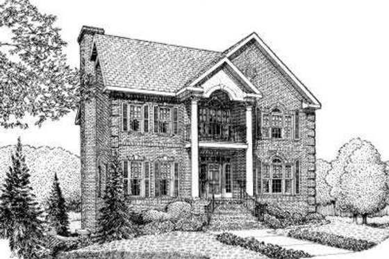 Southern Exterior - Front Elevation Plan #306-120