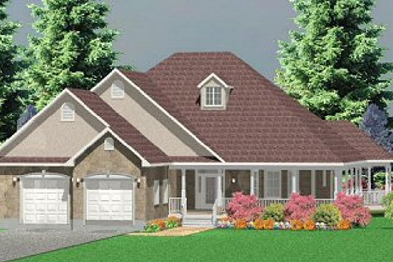 Country Style House Plan - 3 Beds 2.5 Baths 2307 Sq/Ft Plan #414-103 Exterior - Front Elevation