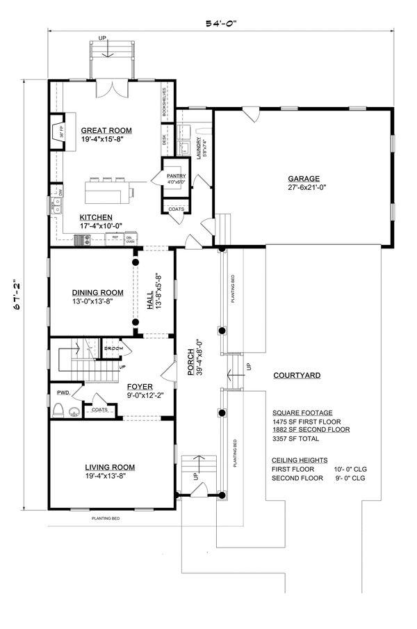 Southern Floor Plan - Main Floor Plan Plan #30-344