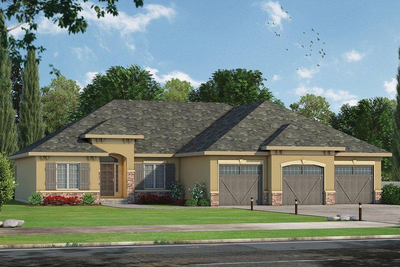 Architectural House Design - Mediterranean Exterior - Front Elevation Plan #20-2256