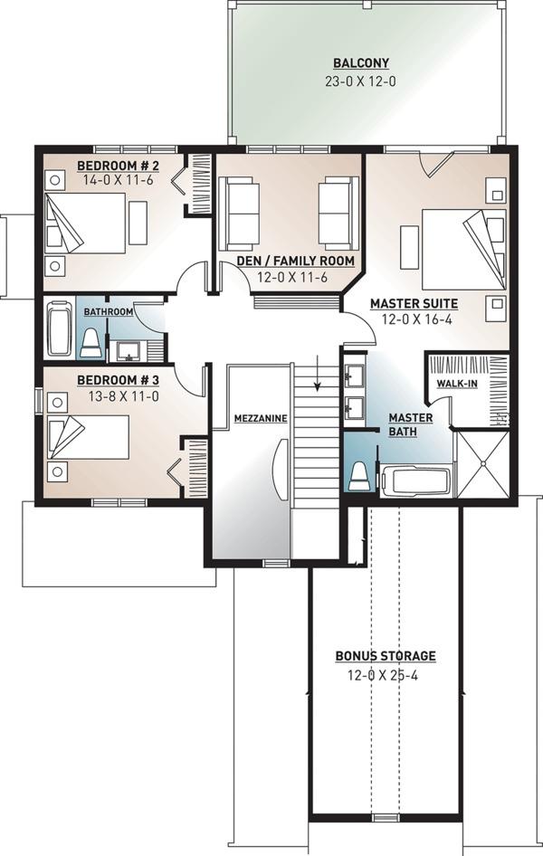 Traditional Floor Plan - Upper Floor Plan Plan #23-2557