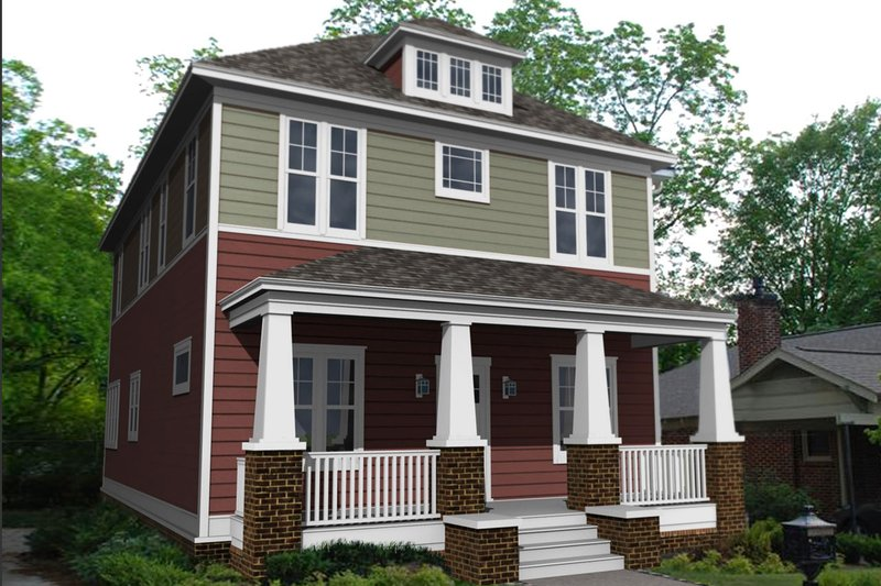 Craftsman Style House Plan - 4 Beds 3 Baths 2546 Sq/Ft Plan #461-62 Exterior - Front Elevation