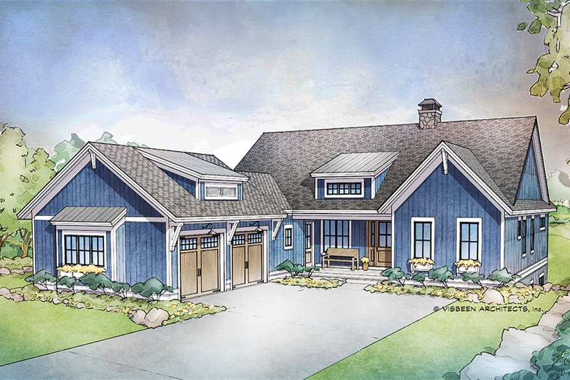 Farmhouse Style House Plan - 4 Beds 3.5 Baths 3447 Sq/Ft Plan #928-301 Exterior - Front Elevation