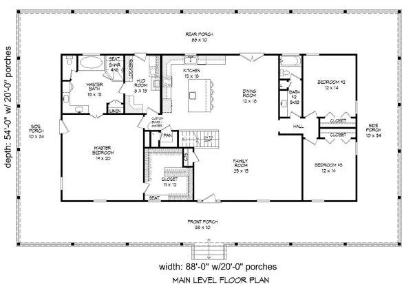 Country Floor Plan - Main Floor Plan Plan #932-308