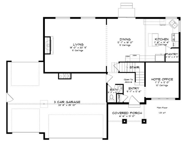 Traditional Floor Plan - Main Floor Plan Plan #1060-37